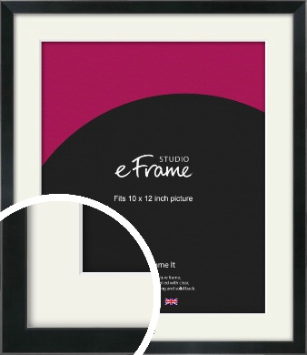 Simple Narrow Black Picture Frame & Mount, 10x12