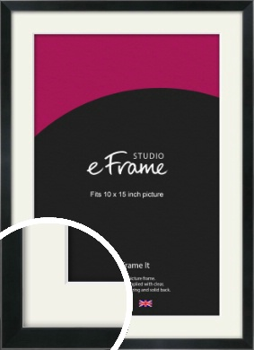 Simple Narrow Black Picture Frame & Mount, 10x15