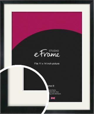 Simple Narrow Black Picture Frame & Mount, 11x14