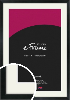 Simple Narrow Black Picture Frame & Mount, 11x17
