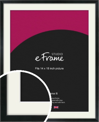 Simple Narrow Black Picture Frame & Mount, 14x18
