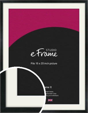 Simple Narrow Black Picture Frame & Mount, 15x20