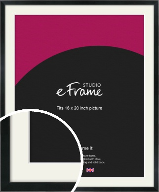 Simple Narrow Black Picture Frame & Mount, 16x20