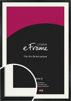 Simple Narrow Black Picture Frame & Mount, 16x24