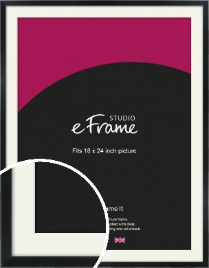 Simple Narrow Black Picture Frame & Mount, 18x24