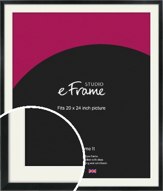 Simple Narrow Black Picture Frame & Mount, 20x24