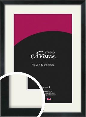 Simple Narrow Black Picture Frame & Mount, 20x30cm (8x12