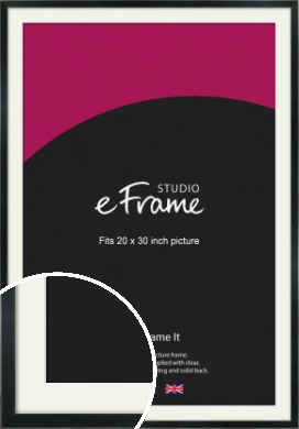 Simple Narrow Black Picture Frame & Mount, 20x30
