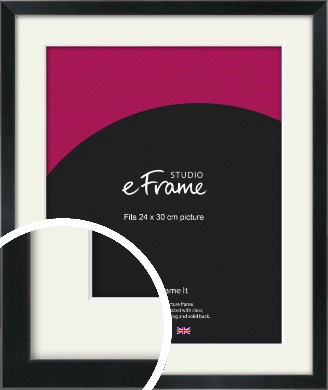 Simple Narrow Black Picture Frame & Mount, 24x30cm (VRMP-381-M-24x30cm)