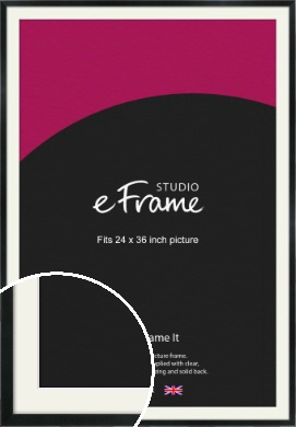 Simple Narrow Black Picture Frame & Mount, 24x36