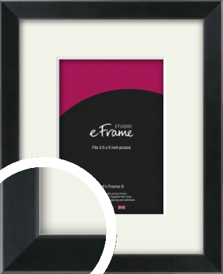 Simple Narrow Black Picture Frame & Mount, 3.5x5