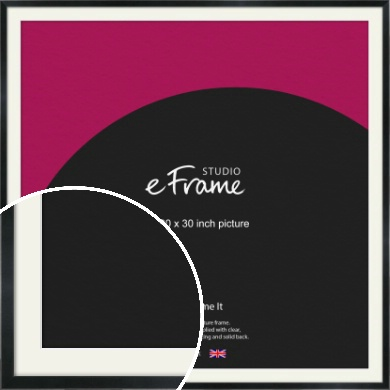 Simple Narrow Black Picture Frame & Mount, 30x30