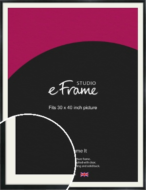 Simple Narrow Black Picture Frame & Mount, 30x40