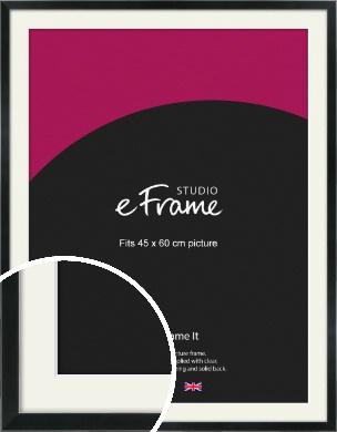 Simple Narrow Black Picture Frame & Mount, 45x60cm (VRMP-381-M-45x60cm)