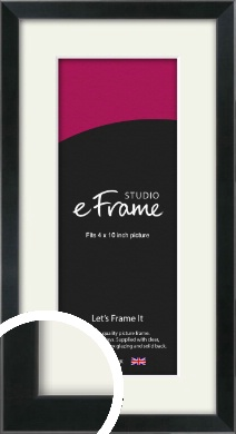 Simple Narrow Black Picture Frame & Mount, 4x10
