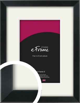 Simple Narrow Black Picture Frame & Mount, 4x6