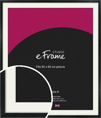 Simple Narrow Black Picture Frame & Mount, 50x60cm (VRMP-381-M-50x60cm)