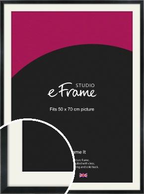 Simple Narrow Black Picture Frame & Mount, 50x70cm (VRMP-381-M-50x70cm)