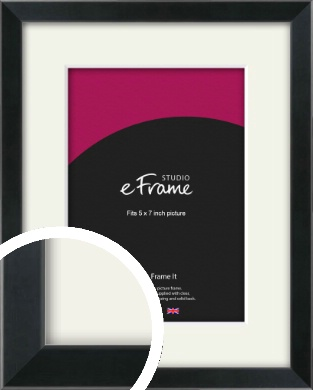 Simple Narrow Black Picture Frame & Mount, 5x7