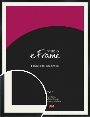 Simple Narrow Black Picture Frame & Mount, 60x80cm (VRMP-381-M-60x80cm)