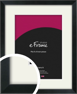 Simple Narrow Black Picture Frame & Mount, 6x8