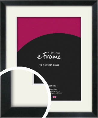 Simple Narrow Black Picture Frame & Mount, 7x9