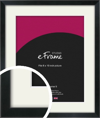 Simple Narrow Black Picture Frame & Mount, 8x10