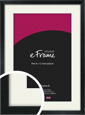Simple Narrow Black Picture Frame & Mount, 8x12