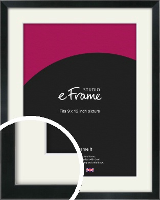 Simple Narrow Black Picture Frame & Mount, 9x12