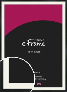 Simple Narrow Black Picture Frame & Mount, A1 (594x841mm) (VRMP-381-M-A1)