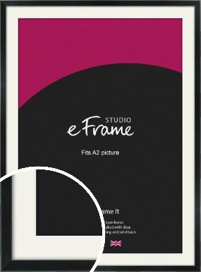 Simple Narrow Black Picture Frame & Mount, A2 (420x594mm) (VRMP-381-M-A2)