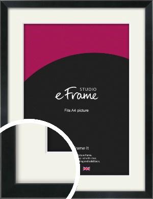 Simple Narrow Black Picture Frame & Mount, A4 (210x297mm) (VRMP-381-M-A4)