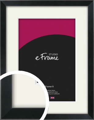 Simple Narrow Black Picture Frame & Mount (VRMP-381-M)
