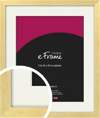 Slim Contemporary Natural Wood Picture Frame & Mount, 20x25cm (8x10