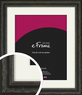 Chinese Inspired Black Picture Frame & Mount, 20x25cm (8x10