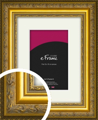 Ornate Gold Picture Frame & Mount, 10x15cm (4x6