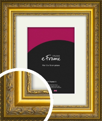 Ornate Gold Picture Frame & Mount, 13x18cm (5x7
