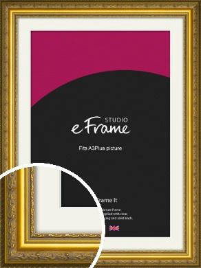Ornate Gold Picture Frame & Mount, A3Plus (VRMP-1128-M-329x483mm)