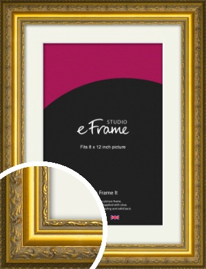 Ornate Gold Picture Frame & Mount, 8x12
