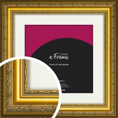 Ornate Gold Picture Frame & Mount, 8x8