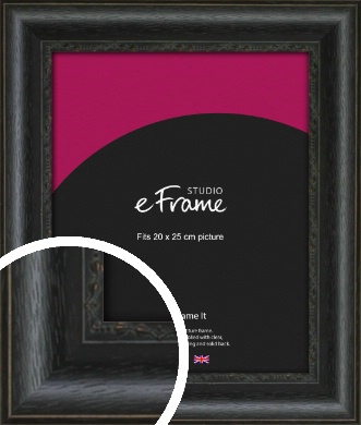 Floral Pattern Open Grain Black Picture Frame, 20x25cm (8x10