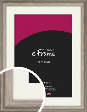 Weathered Grey & Brown Picture Frame & Mount, A4 (210x297mm) (VRMP-1148-M-A4)