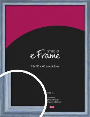 Roughened Sky Blue Picture Frame, 30x40cm (VRMP-1149-30x40cm)