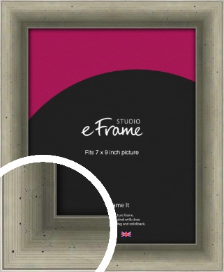Distressed Metallic Silver Picture Frame, 7x9