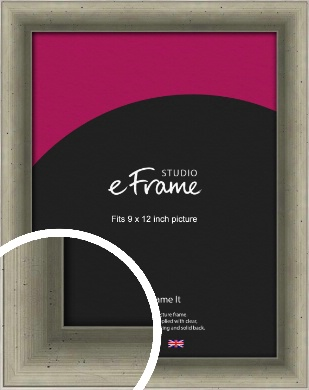 Distressed Metallic Silver Picture Frame, 9x12