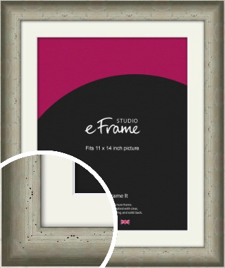 Wide Hammered Silver Picture Frame & Mount, 11x14