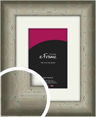 Wide Hammered Silver Picture Frame & Mount, 4x6