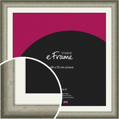Wide Hammered Silver Picture Frame & Mount, 50x50cm (VRMP-245-M-50x50cm)