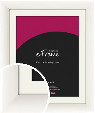 Arc High Gloss White Picture Frame & Mount, 11x14