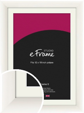 Arc High Gloss White Picture Frame & Mount, 12x18
